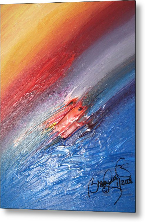Abstract Metal Print featuring the painting Bliss - D by Brenda Basham Dothage