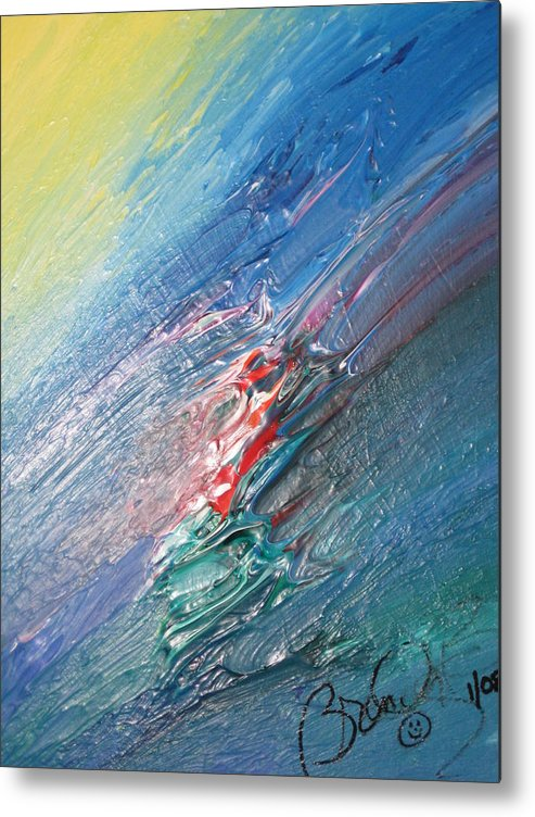Abstract Metal Print featuring the painting Bliss - F by Brenda Basham Dothage