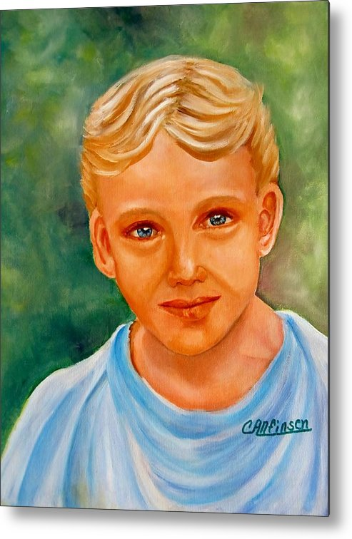 Boy Metal Print featuring the painting Blonde Boy by Carol Allen Anfinsen