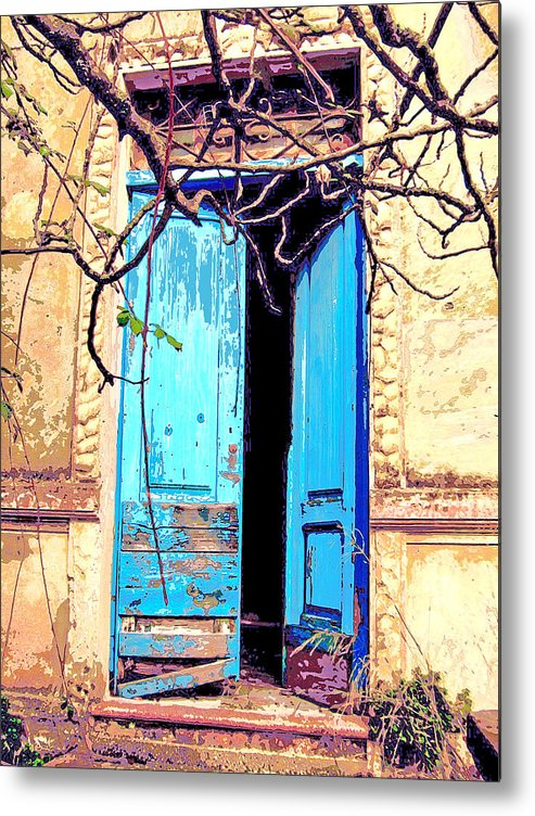 Blue Doors Metal Print featuring the mixed media Blue Doors In Tuscany by Dominic Piperata