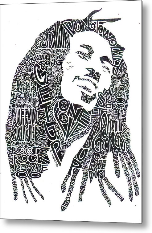 Bob Marley Metal Print featuring the drawing Bob Marley Black And White Word Portrait by Kato Smock