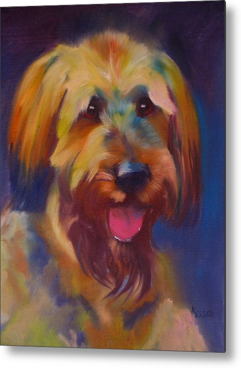 Briard Puppy Metal Print featuring the painting Briard Puppy by Kaytee Esser