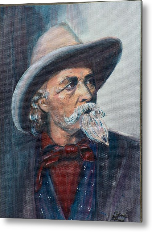 Man Metal Print featuring the painting Buffalo Bill by Sylvia Stone