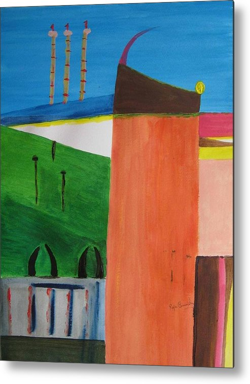 Abstract Metal Print featuring the painting Bullring - Plaza De Toro. by Roger Cummiskey