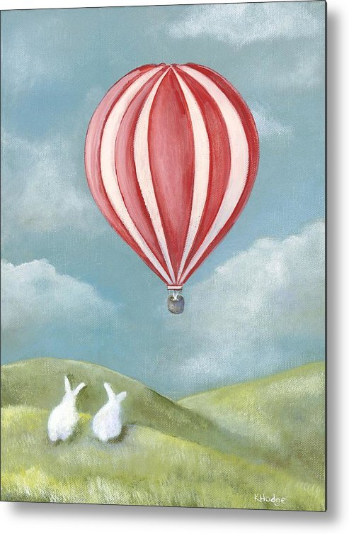 Bunny Metal Print featuring the painting Bun Voyage by Kimberly Hodge