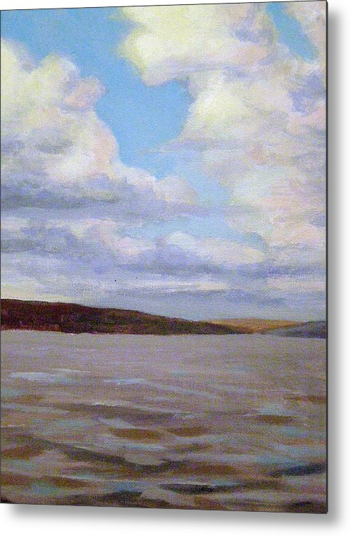 Landscape Metal Print featuring the painting Cayuga Lake by Evelynn Eighmey