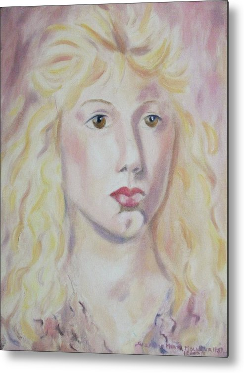 Blonde Metal Print featuring the painting Christine by Suzanne Marie Leclair