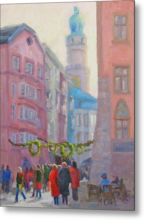Street Scene Metal Print featuring the painting Christmas Shopping - Innsbruck by Bunny Oliver