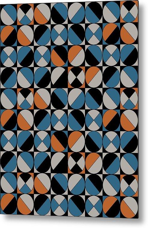 Blue Circles Metal Print featuring the digital art Circle Grid by Sandi Hauanio
