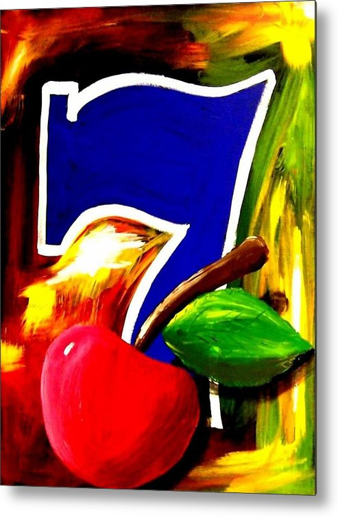 Slot Machine Metal Print featuring the painting Colorful Lucky Seven Slot Machine Casino Decor With Cherry by Teo Alfonso