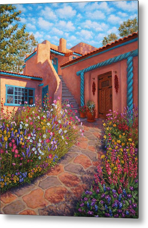 Southwest Metal Print featuring the painting Courtyard Garden In Taos by Johanna Girard