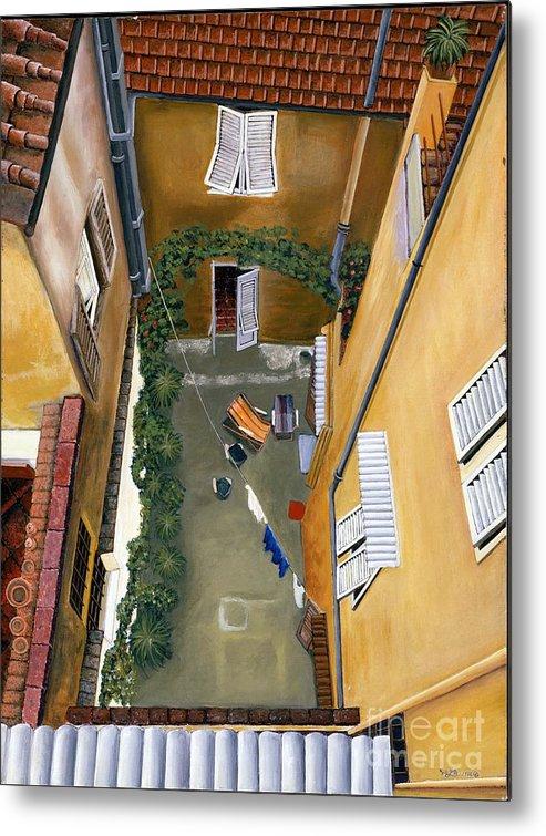 Court Yard Metal Print featuring the painting Courtyard In Milan by Jiji Lee
