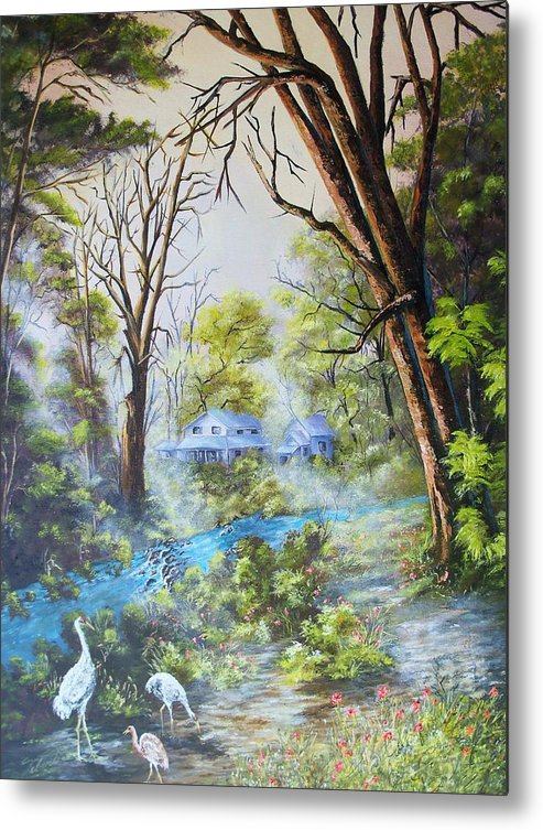Landscape Metal Print featuring the painting Cranes In The Morning by Dennis Vebert