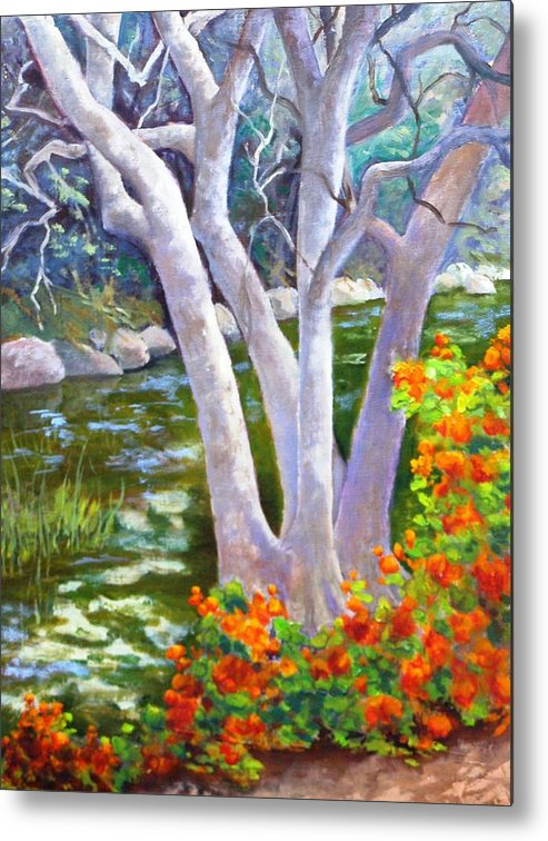Tree Metal Print featuring the painting Creekside by Dorothy Nalls