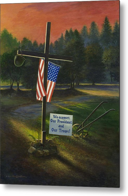 Cross Metal Print featuring the painting Cross Of Remembrance by Randy Welborn