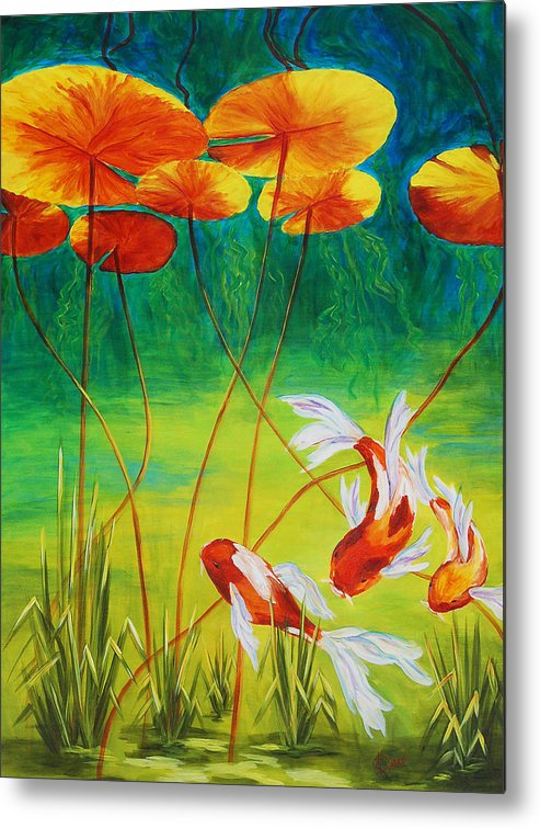Koi Metal Print featuring the painting Day Dreamin by Karen Dukes