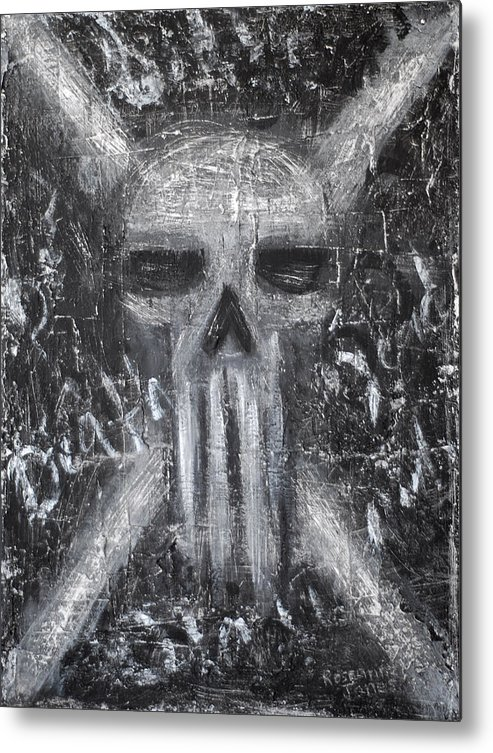Skull Metal Print featuring the painting Departed Darkness by Roseanne Jones