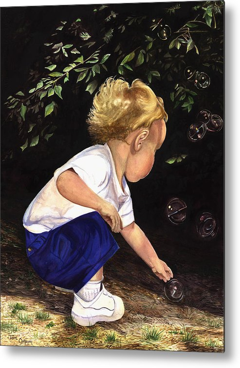 Portrait Metal Print featuring the painting Discovering Bubbles by Terri Meyer