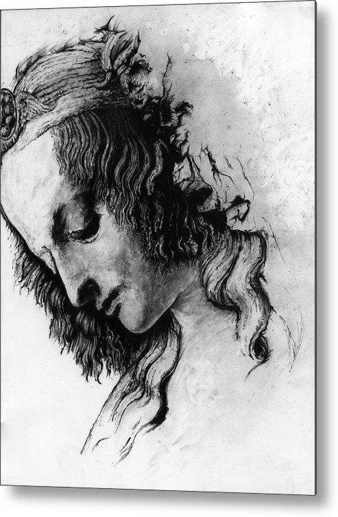 Portrait Woman Leonardo Da Vinci Italian Ancient Renaissance Reproduction Mary Magdalene Christ Code Metal Print featuring the drawing Districhi Di Magdalene by Priscilla Vogelbacher