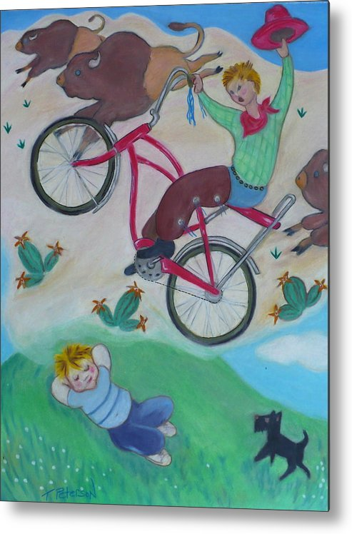 Children Metal Print featuring the painting Dream Ride by Todd Peterson