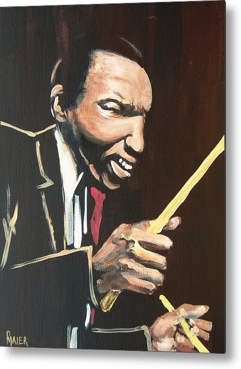 Jazz Metal Print featuring the painting Elvin Vi by Pete Maier