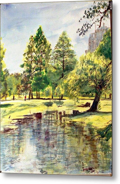 Watercolor Metal Print featuring the painting En El Parque A Mediodia by Horacio Prada