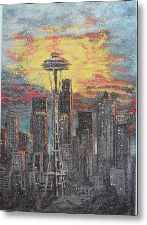 Sunset Cloudy Sky Metal Print featuring the painting Eye On The Needle by Dan Bozich