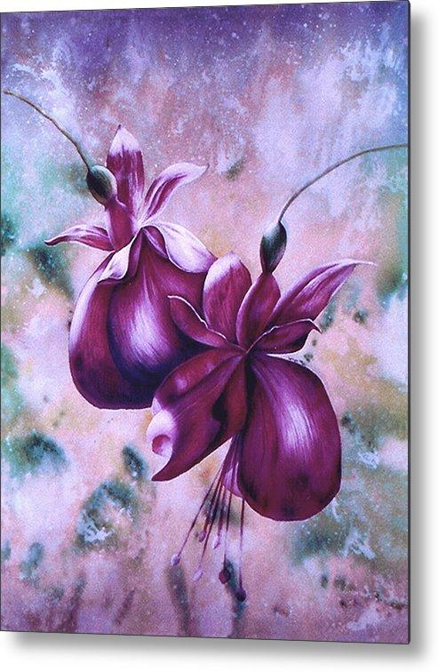 Flowers Fuchsia Metal Print featuring the print Fat Fuchsia by JoLyn Holladay