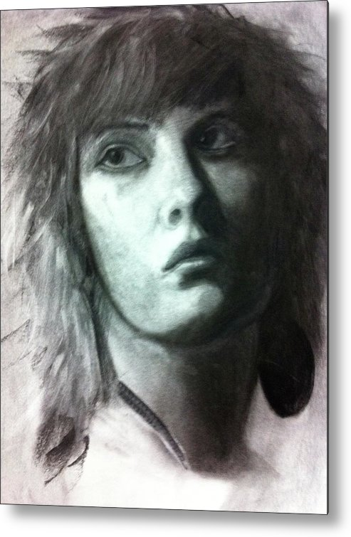 Portrait Metal Print featuring the drawing Female Portrait by David Rios