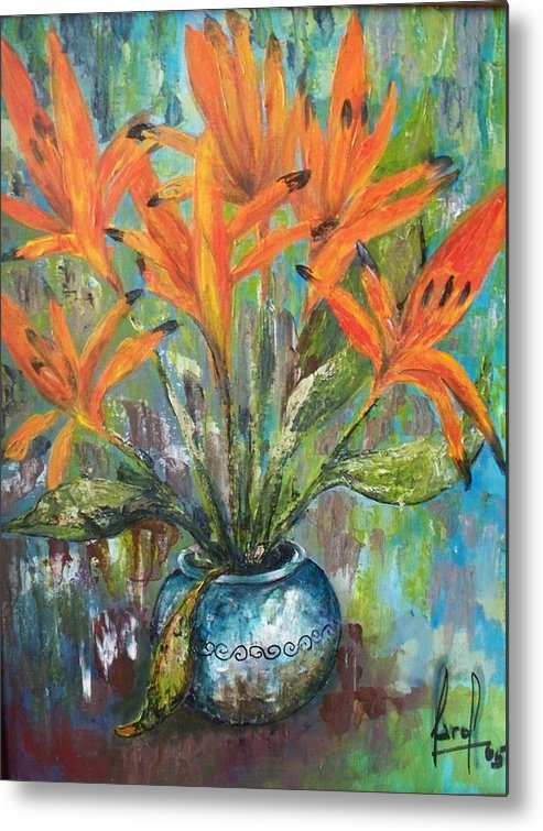 Metal Print featuring the painting Fire Flowers by Carol P Kingsley