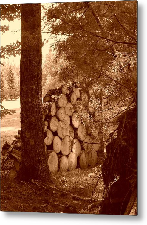 Firewood Metal Print featuring the photograph Firewood by Peter Mowry