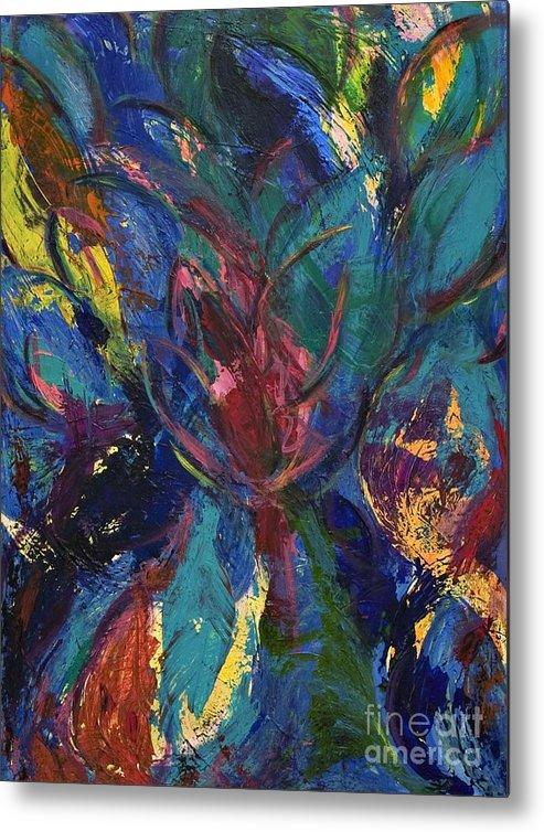 Flower Happy Bursting Metal Print featuring the painting Flowerburst by Sabra Chili