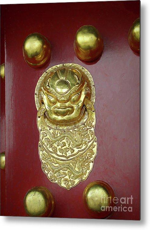 Forbidden City Metal Print featuring the digital art Forbidden City Door by Elisabeth Lucas