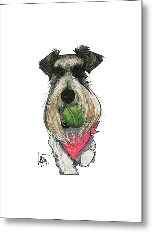 Pet Portrait Metal Print featuring the drawing Ford 3235 Miley by John LaFree