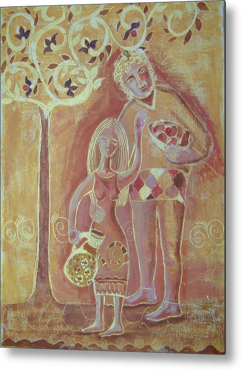 Tree Metal Print featuring the painting Fruitful Tree by Aliza Souleyeva-Alexander