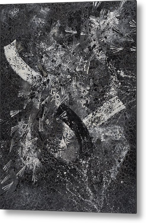 Abstract Metal Print featuring the painting Garanti Tout Cuir by Dominique Boutaud