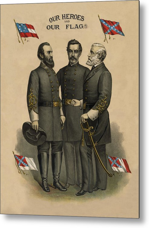 Confederate Metal Print featuring the painting Generals Jackson Beauregard And Lee by War Is Hell Store