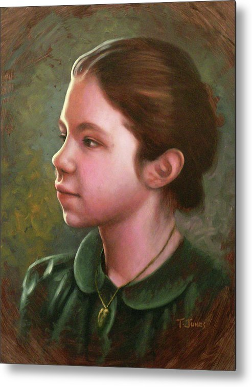 Girl Metal Print featuring the painting Girl With Locket by Timothy Jones