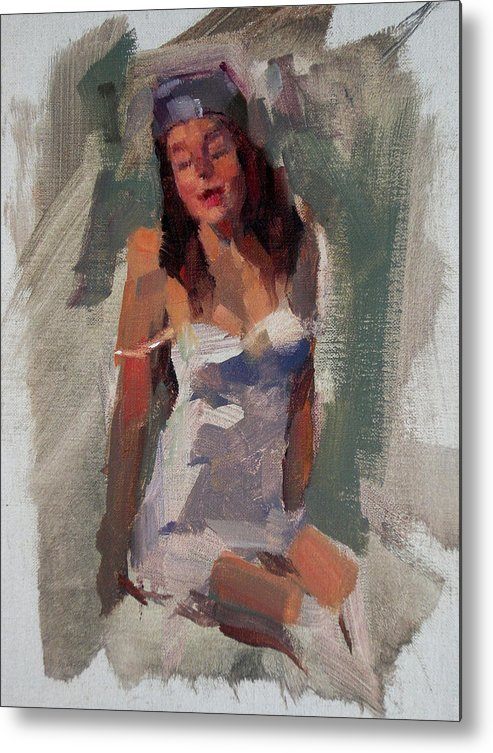 Figurative Metal Print featuring the painting Glam Girl by Merle Keller