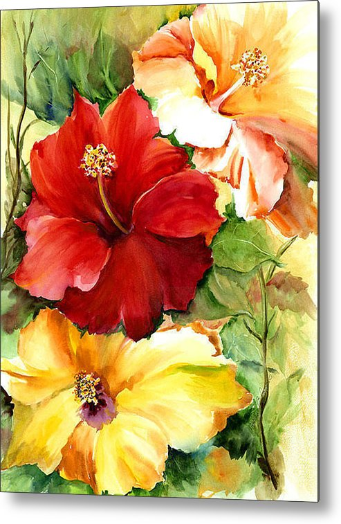 Flower Metal Print featuring the painting Glorious Hibiscus by Priscilla Powers
