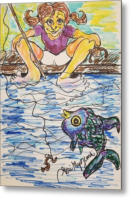 Gone Fishing Metal Print featuring the drawing Gone Fishing by Geraldine Myszenski