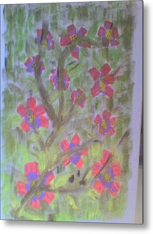 Pink Florals Metal Print featuring the painting Hds-acrylic Floral Green by Hema V Gopaluni