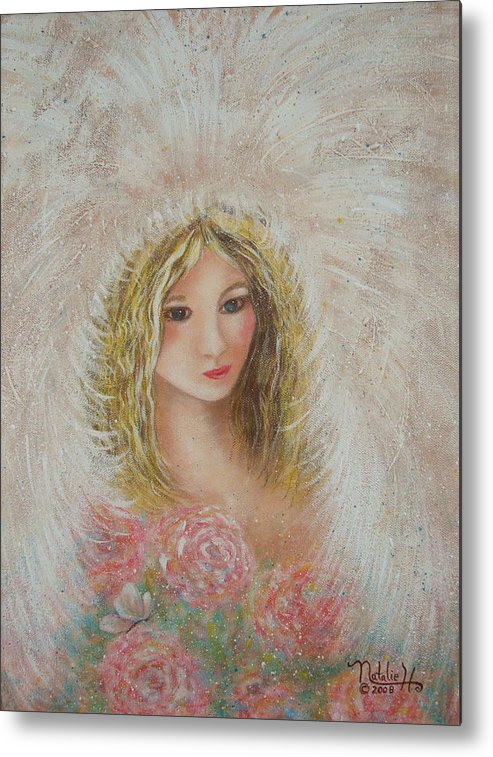 Angel Metal Print featuring the painting Heavenly Angel by Natalie Holland