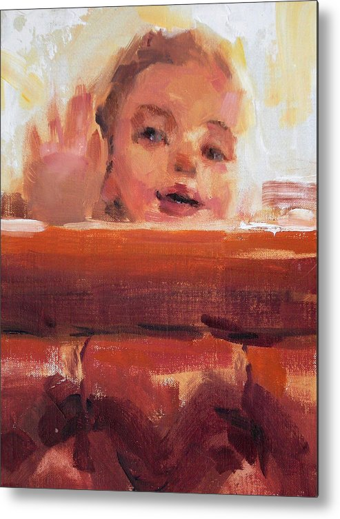 Child Metal Print featuring the painting Hi There by Merle Keller