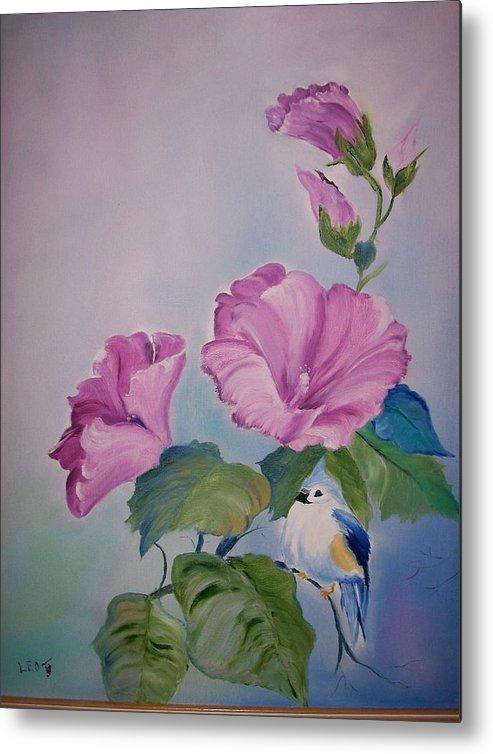 Flowers Metal Print featuring the painting Hibiscus Birdie by Leo Gordon