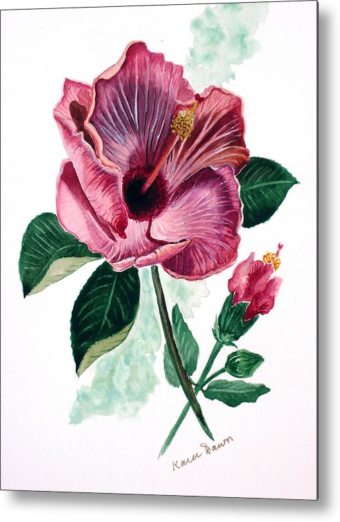 Flora Painting L Hibiscus Painting Pink Flower Painting Greeting Card Painting Metal Print featuring the painting Hibiscus Dusky Rose by Karin Dawn Kelshall- Best