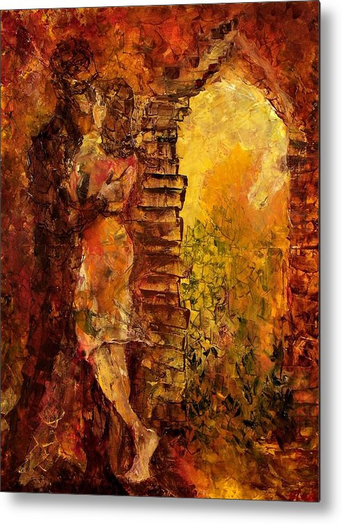 Oil Metal Print featuring the painting Hidden Kiss by Olga Gernovski