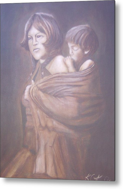 Indians Metal Print featuring the painting Hopi Mother by KC Knight