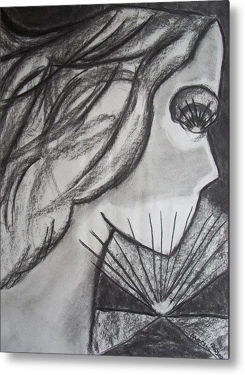 Face Metal Print featuring the drawing Horizon by Marsha Ferguson