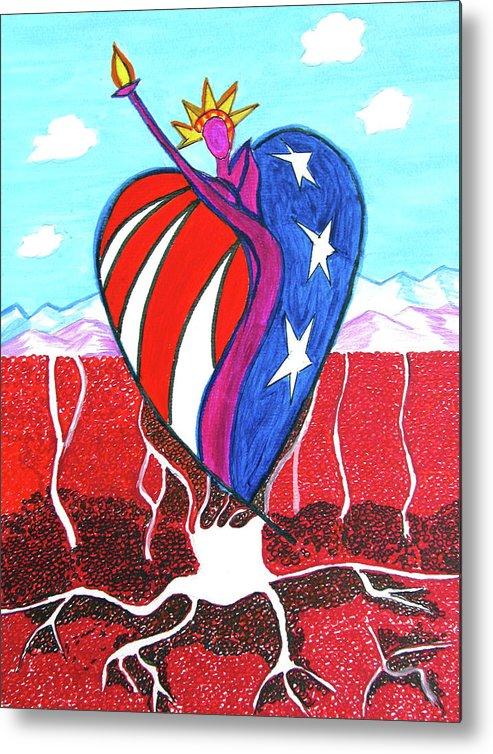 Usa Metal Print featuring the painting I Love America by Seshadri Sreenivasan